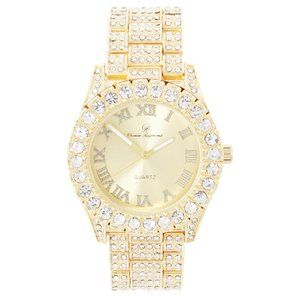 Bling-ed Out Round Watch ST10327Roman Gold/Gold